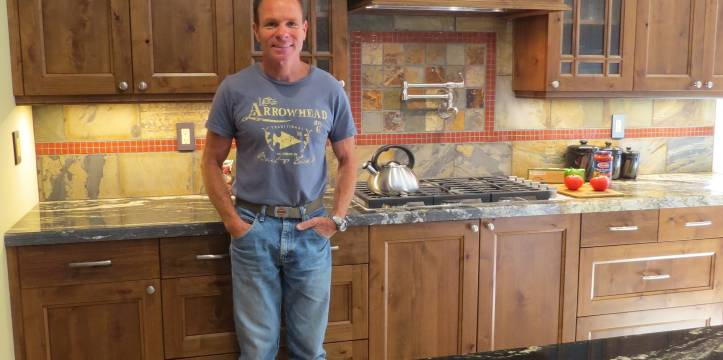 Satisfied client in his remodeled kitchen.
