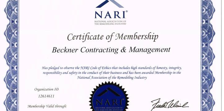 NARI member in good standing.