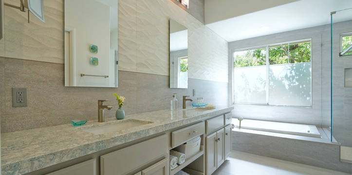 Master bath remodel. Sea green with envy.
