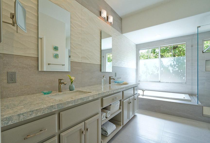 Master bath remodel. Sea green with envy.